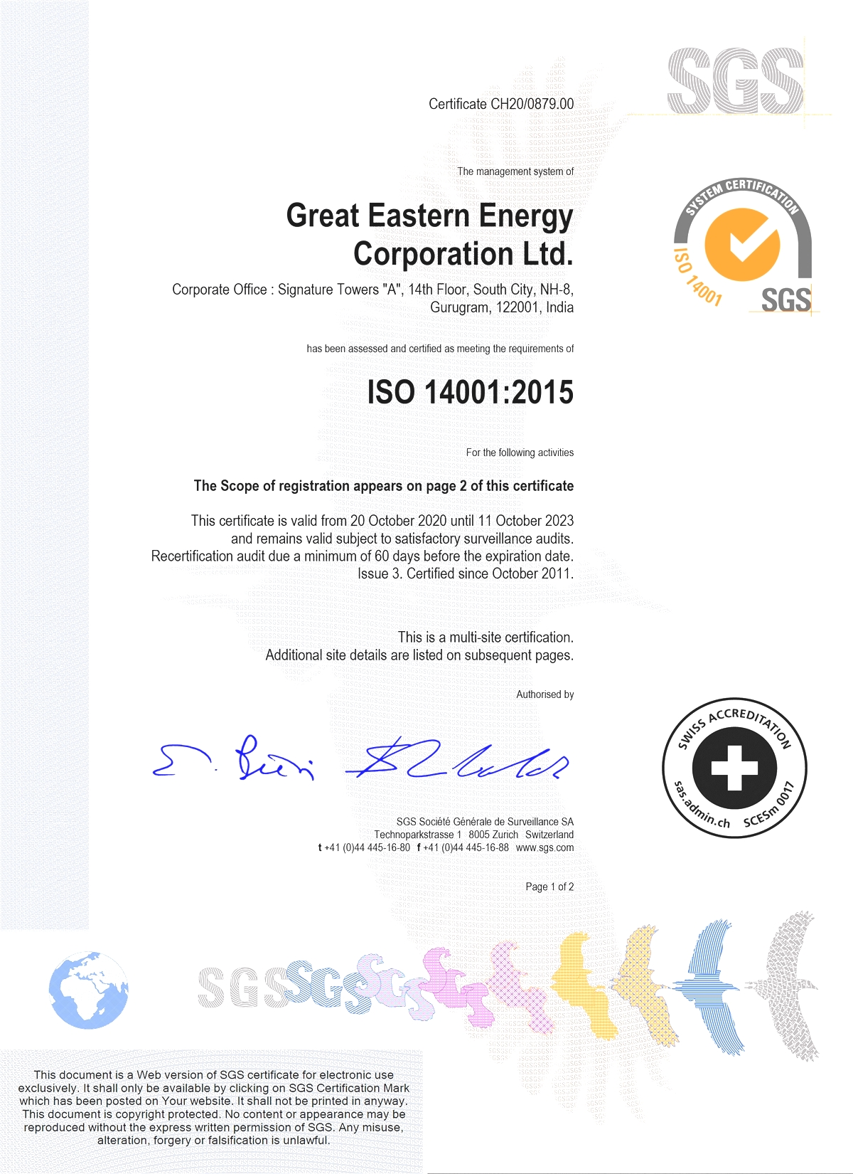 GEECL ISO 14001:2004 Certificate
